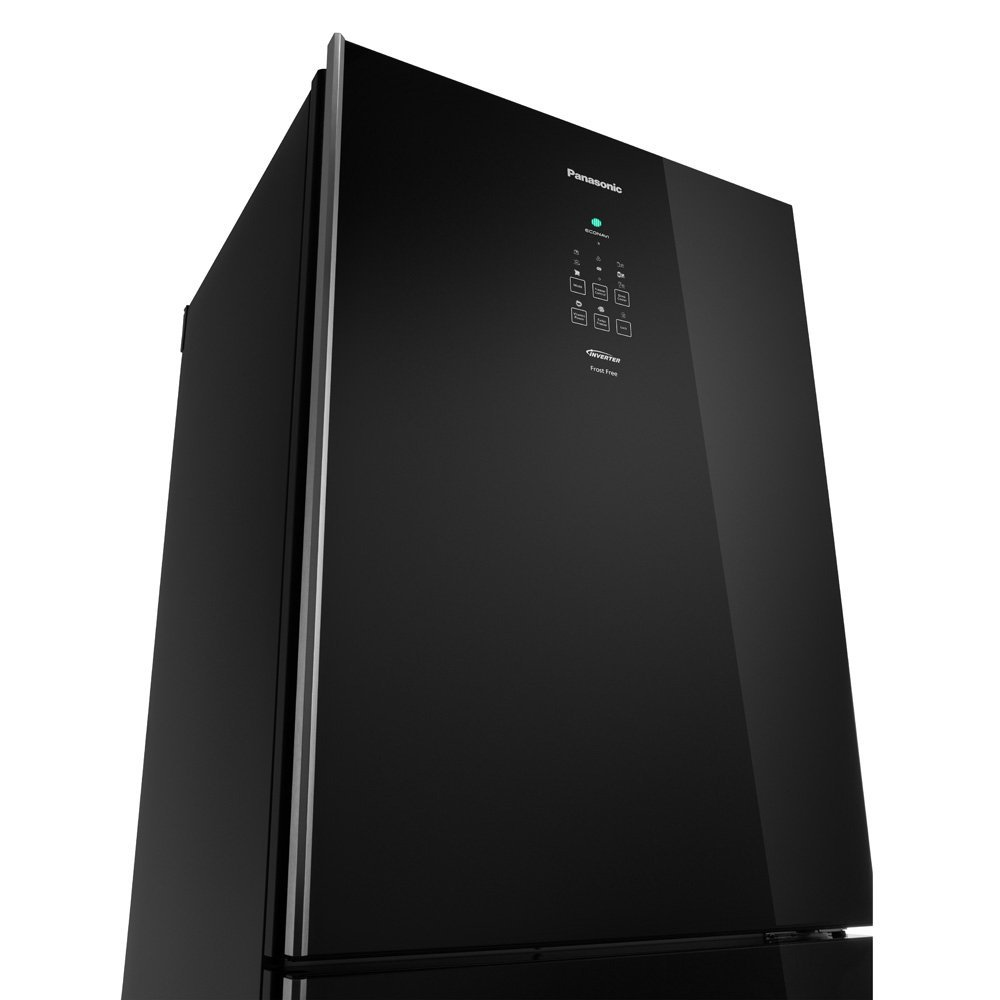 Geladeira Panasonic Inverter Black Glass Frost Free 425 Litros Preto 110V NR-BB53GV3BA