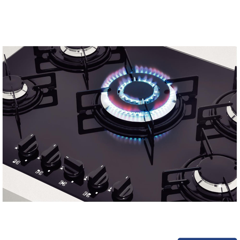 Cooktop a Gás Tramontina Glass Penta 5 Queimadores Vidro Preto Bivolt 94708/201