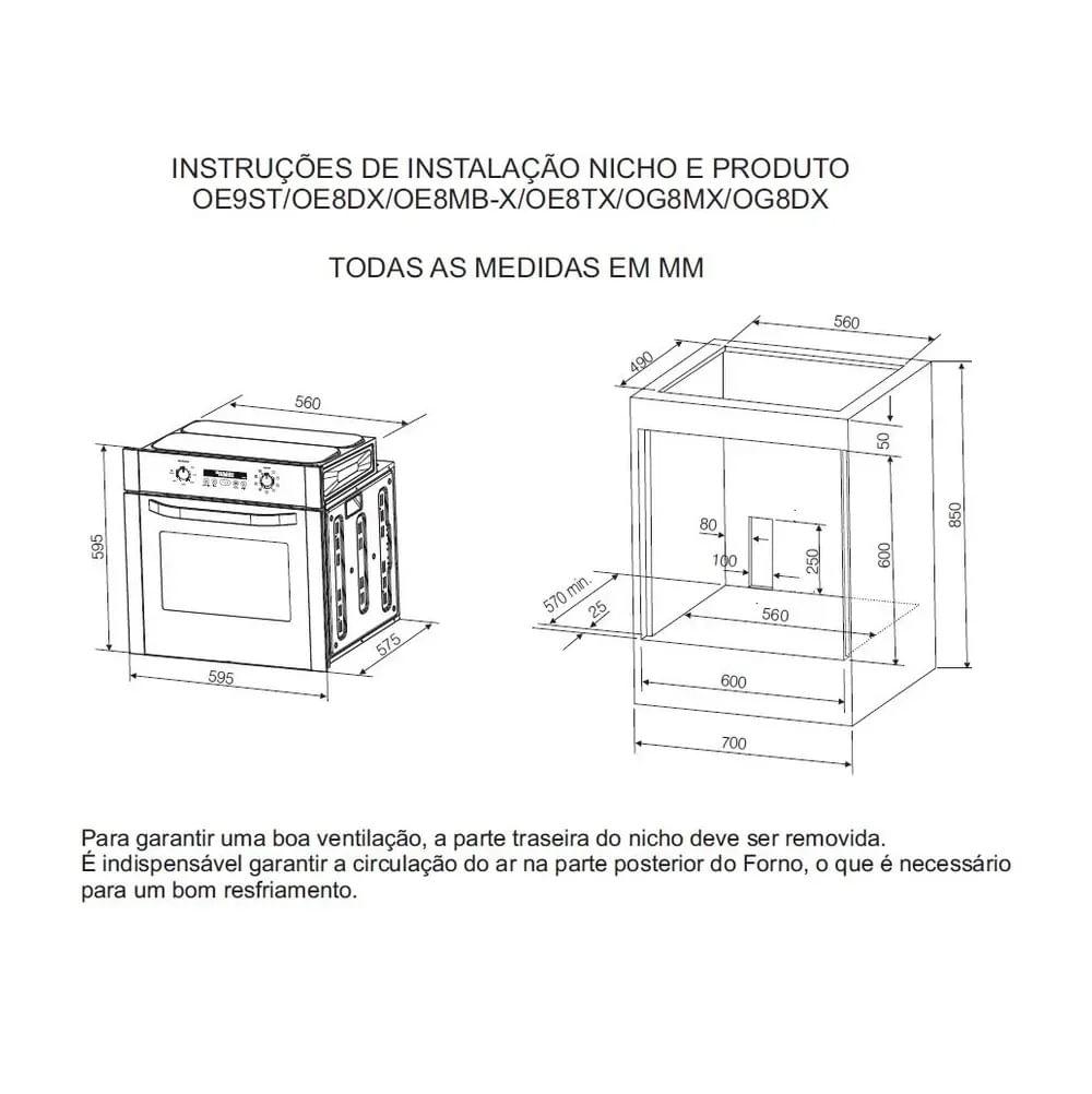 Forno a Gás de Embutir Electrolux 73 Litros Inox 220V OG8MX 53801GBA289