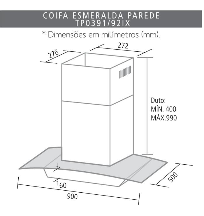 Coifa de Parede Suggar Esmeralda 90 cm Inox e Vidro 220V .TP0392IX