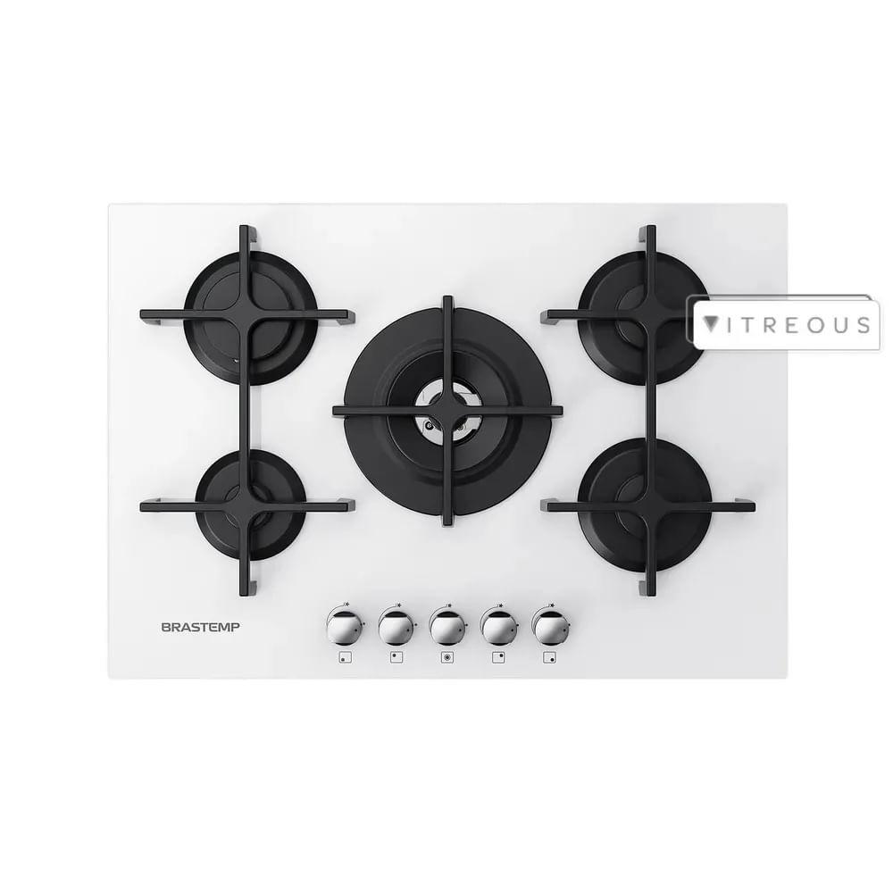 Cooktop a Gás Brastemp Vitreous 5 Queimadores Branco 220V GDK73ABBNA