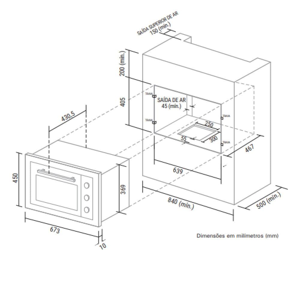 Forno Elétrico de Embutir Suggar 50 Litros Inox 110V FE5001IX