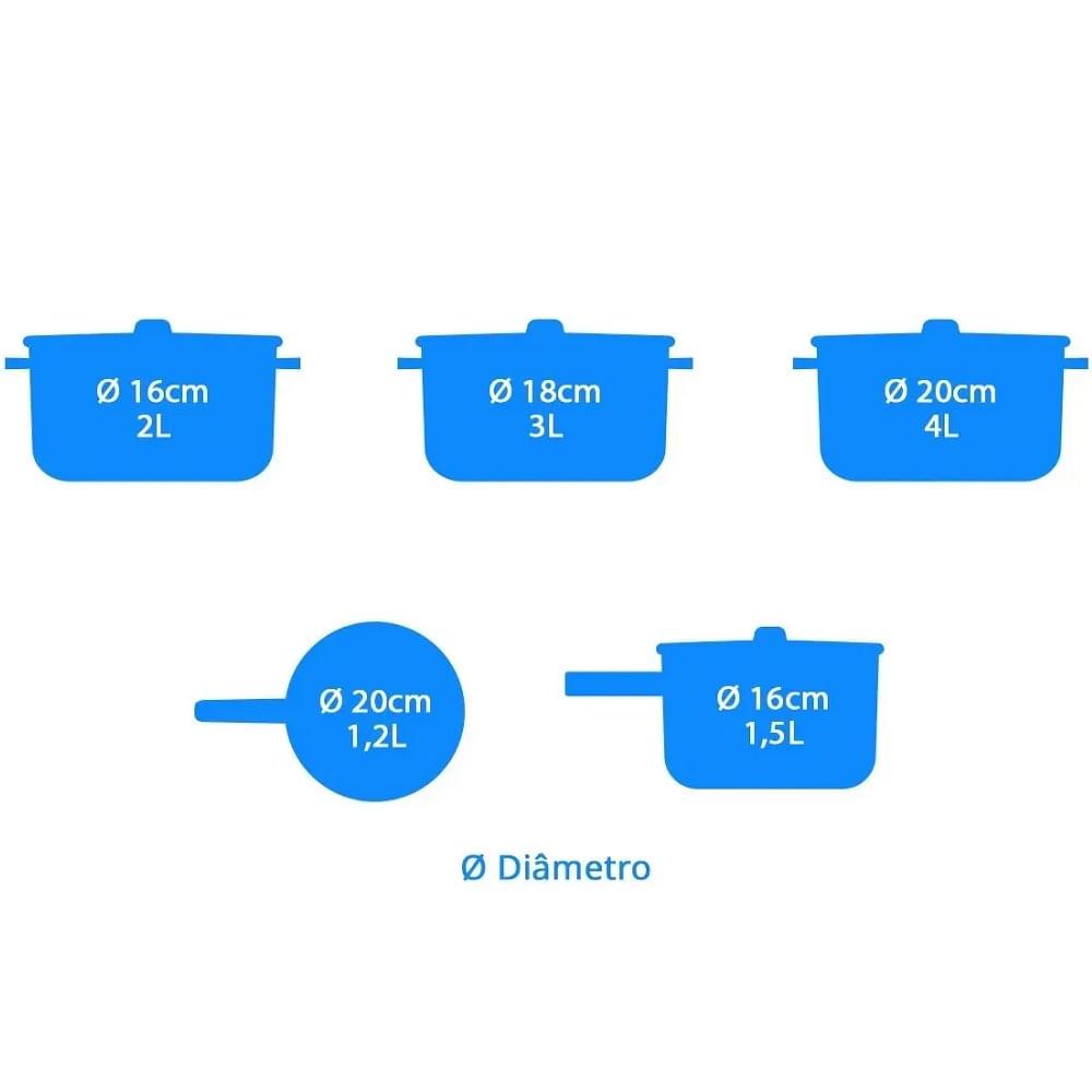 Conjunto de Panelas Electrolux 5 Peças Inox A15344901