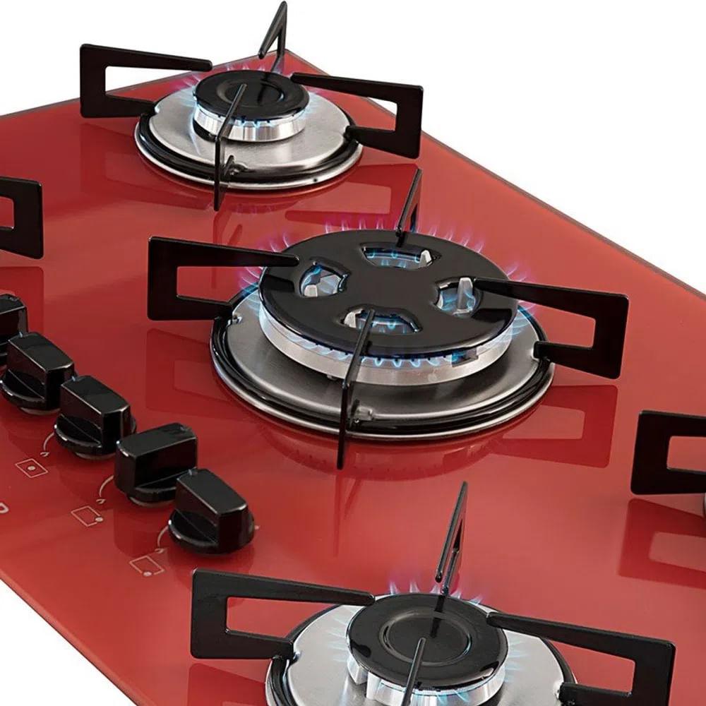 Cooktop à Gás Suggar 5 Queimadores Vermelho Bivolt FG5305VM