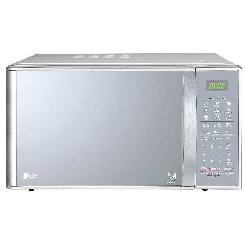 Forno Micro-ondas LG Com Grill Revestimento EasyClean™ Prata 30 Litros 110V MH7093BR
