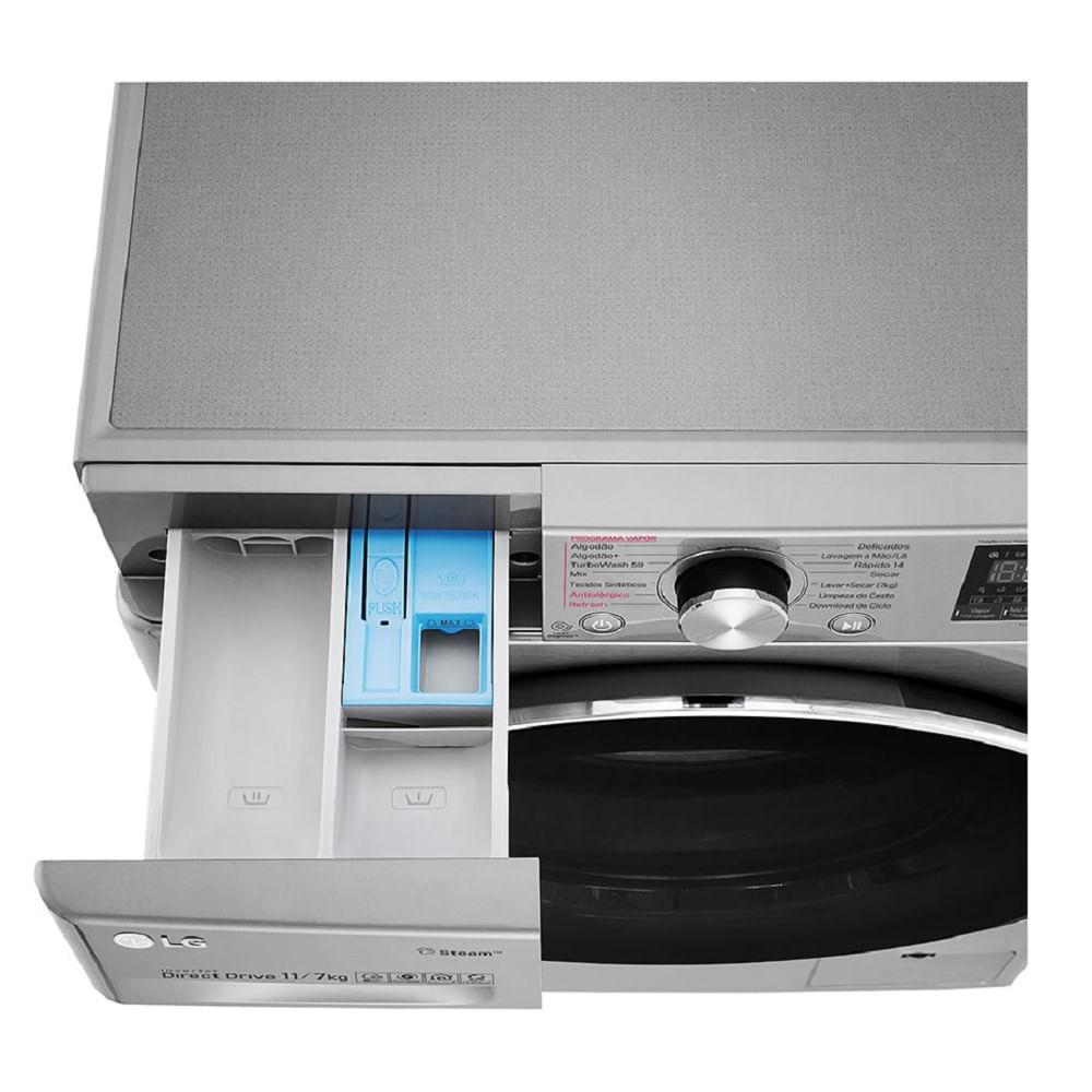 Lavadora e Secadora LG Smart VC3 11Kg Aço Escovado 220V CV7011TC4A