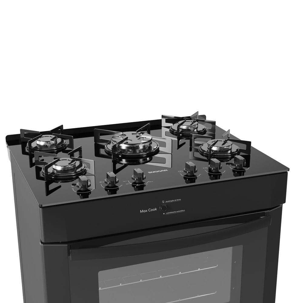 Fogão de Piso Suggar Max Cook 5 Queimadores Preto Bivolt FGV502PT