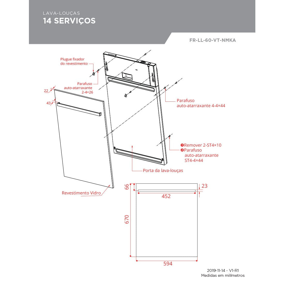 Porta para Lava-Louças Elettromec Vetro 14 Serviços Vidro Preto 60cm FR-LL-60-VT-NMKA