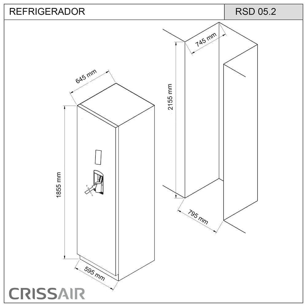 Refrigerador-Crissair-Twin-Set-350-Litros-Inox-220V---RSD-05.2-4