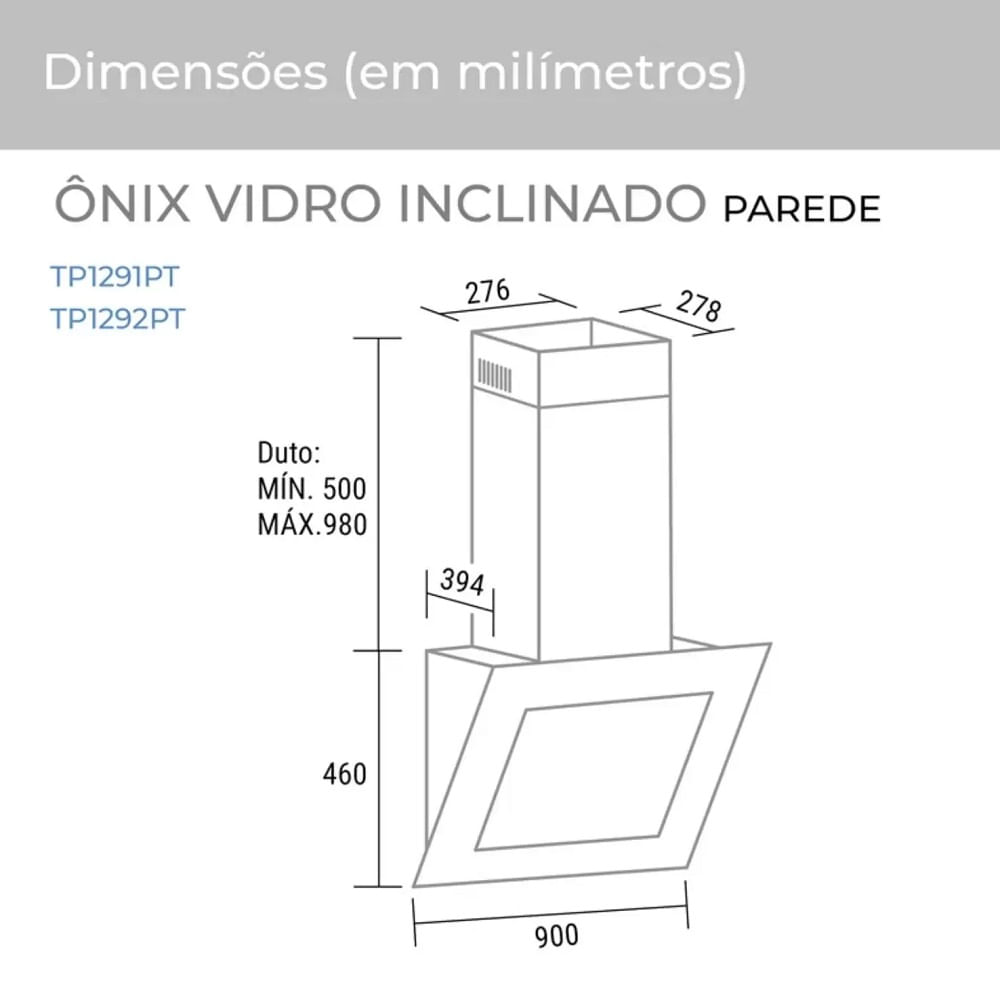 Coifa de Parede Suggar 90cm Onix 110V .TP1291PT