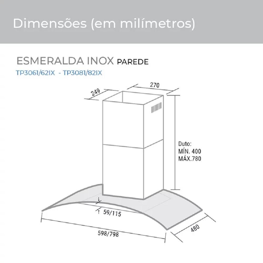Coifa de Parede Suggar Esmeralda 80cm Inox 110V .TP3081IX